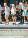 �Fishing� at the swimming pool